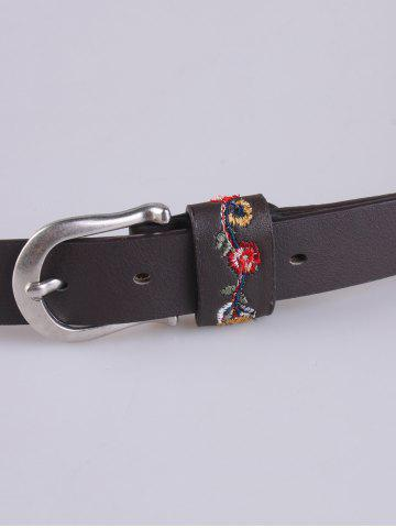 Fashion Flower Embroidered Ethnic Faux Leather Belt - COFFEE  Mobile