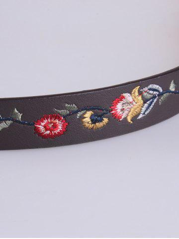 Shops Flower Embroidered Ethnic Faux Leather Belt - COFFEE  Mobile