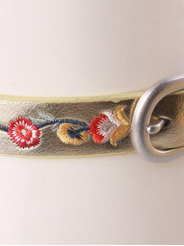 Trendy Flower Embroidered Ethnic Faux Leather Belt - GOLDEN  Mobile