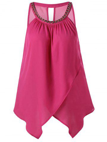 Overlap Chain Embellished Cut Out Tank Top - ROSE RED L