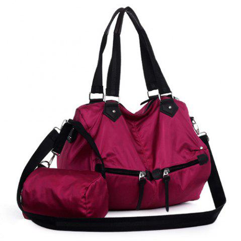 Cross Body Weekender Bag with Pouch Bag - Purplish Red