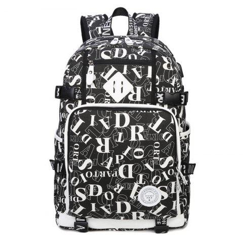 Outfits Buckle Straps Letter Print Backpack - BLACK  Mobile