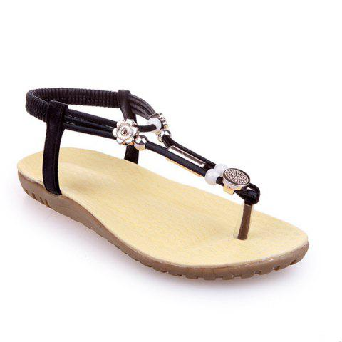 Hot Faux Leather Elastic Beads Sandals - 39 BLACK Mobile