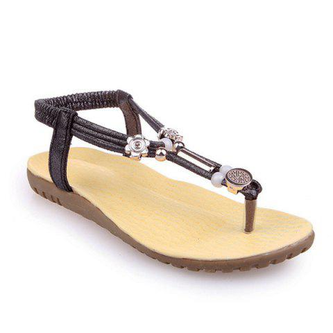 Faux Leather Elastic Beads Sandals - Gun Metal - 37