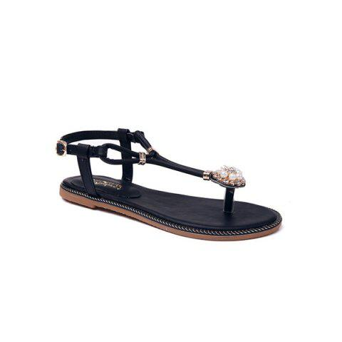 Outfits Faux Pearls T Bar Flat Sandals - 37 BLACK Mobile