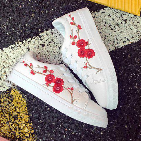 Shop Faux Leather Embroidery Athletic Shoes - 37 RED Mobile