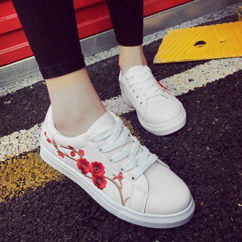 Store Faux Leather Embroidery Athletic Shoes - 37 RED Mobile