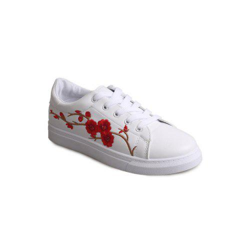 Faux Leather Embroidery Athletic Shoes - RED 38