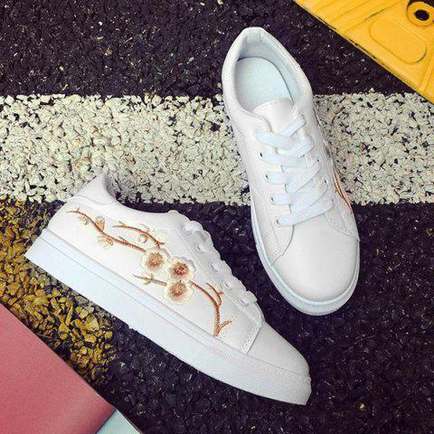 Shop Faux Leather Embroidery Athletic Shoes - 38 GOLDEN Mobile