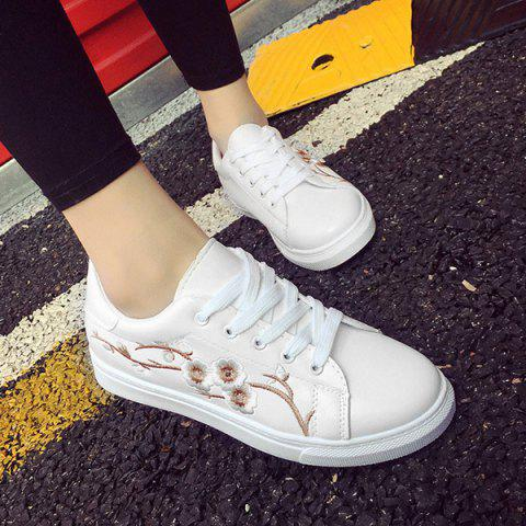 Outfits Faux Leather Embroidery Athletic Shoes - 38 GOLDEN Mobile