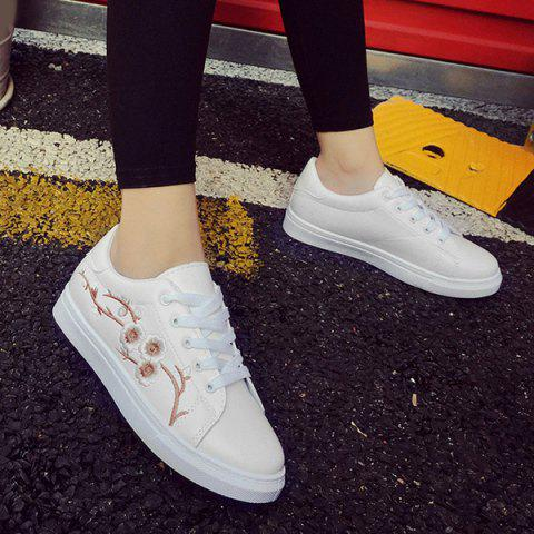 Fancy Faux Leather Embroidery Athletic Shoes - 38 GOLDEN Mobile