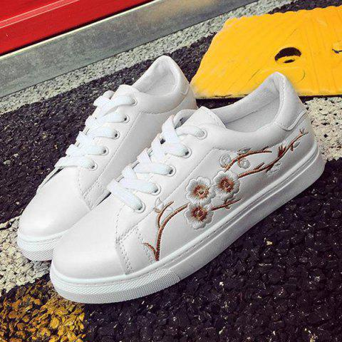 Store Faux Leather Embroidery Athletic Shoes - 38 GOLDEN Mobile