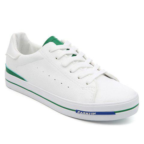 Store Faux Leather Colour Block Athletic Shoes WHITE AND GREEN 39