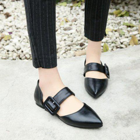 Chic PU Leather Belt Buckle Flat Shoes - 40 BLACK Mobile