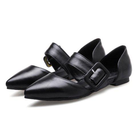 Unique PU Leather Belt Buckle Flat Shoes - 40 BLACK Mobile