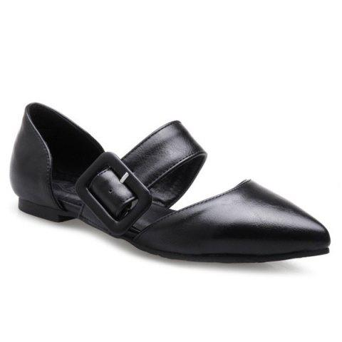 Outfit PU Leather Belt Buckle Flat Shoes - 40 BLACK Mobile