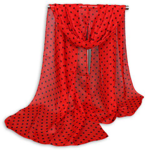 Sale Gossamer Tiny Polka Dot Shawl Scarf - RED  Mobile