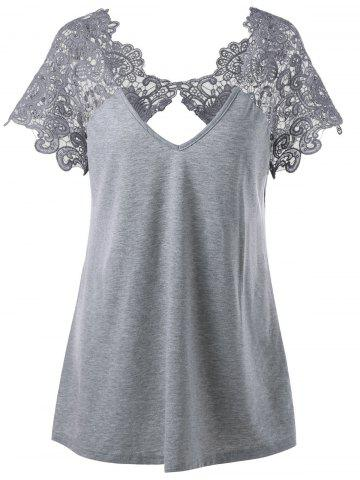 Plus Size Lace Trim Cutwork T-Shirt- - Gray