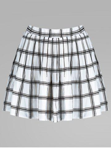 Outfit Plaid Pleated Elastic Waist Skirt WHITE XL