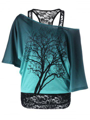 Fancy Lace Panel Skew Collar Tree Print T-Shirt GREEN M