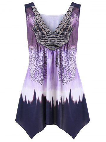 Sale Plus Size Ombre Asymmetric Flowy Tank Top PURPLE 3XL