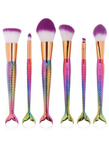 Buy 6 Pcs Multifunction Mermaid Shape Makeup Brush Set DAZZLING