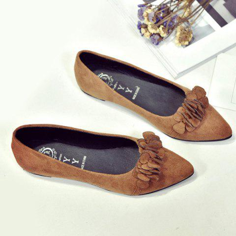 Outfits Pointed Toe Flowers Flat Shoes - 38 LIGHT BROWN Mobile