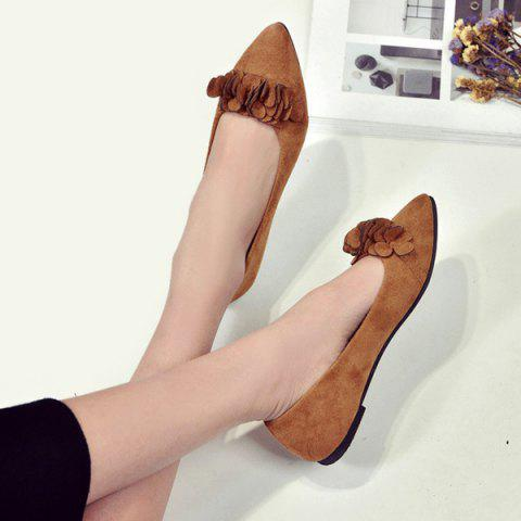 Chic Pointed Toe Flowers Flat Shoes - 38 LIGHT BROWN Mobile