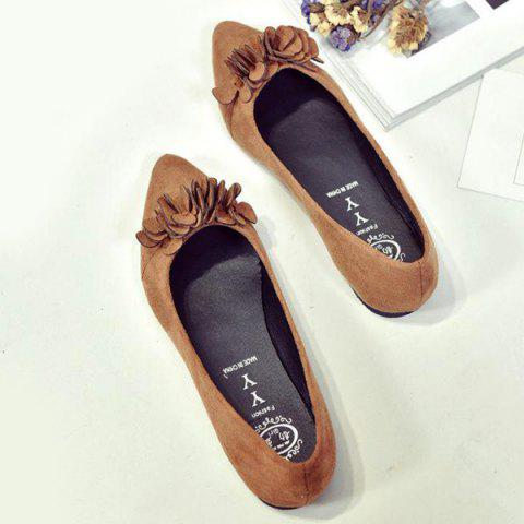 Latest Pointed Toe Flowers Flat Shoes - 38 LIGHT BROWN Mobile