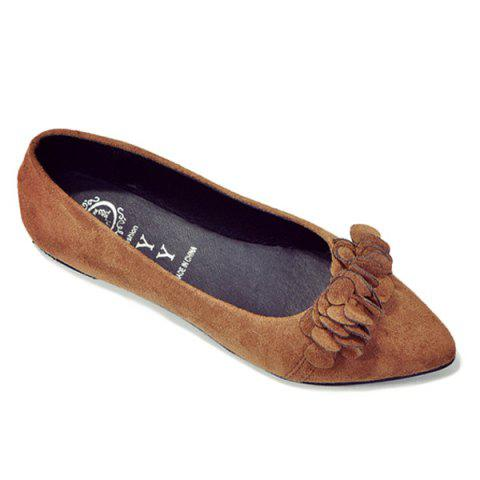 Hot Pointed Toe Flowers Flat Shoes - 38 LIGHT BROWN Mobile