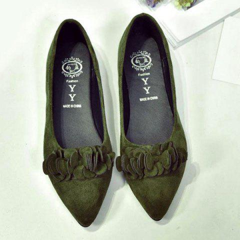 Shops Pointed Toe Flowers Flat Shoes - 38 ARMY GREEN Mobile