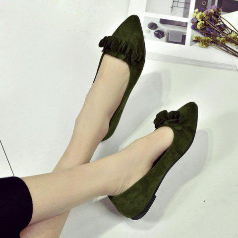 Hot Pointed Toe Flowers Flat Shoes - 38 ARMY GREEN Mobile
