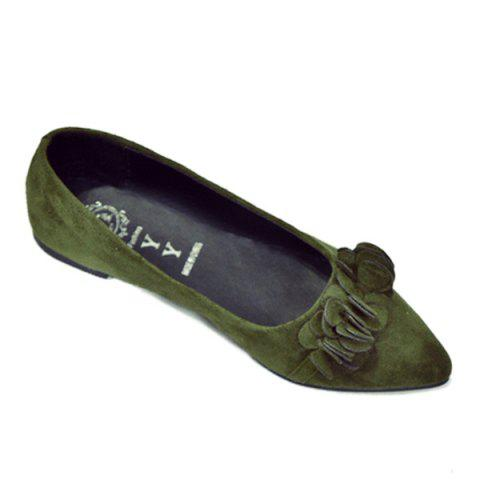 Outfit Pointed Toe Flowers Flat Shoes - 38 ARMY GREEN Mobile