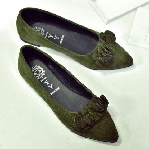 Fashion Pointed Toe Flowers Flat Shoes - 38 ARMY GREEN Mobile