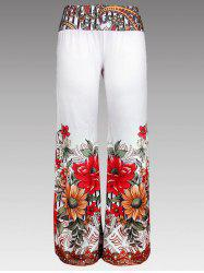 Floral Print Wide Leg Pants - WHITE