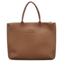 Faux Leather Letter Embossed Tote Bag