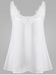 Hollow Out Lace Insert Dressy Tank Top - WHITE