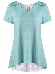 V Neck Plus Size High Low Hem Lace Trim Tee - MINT