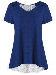 V Neck Plus Size High Low Hem Lace Trim Tee