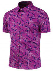 Printed Casual Short Sleeve Shirt - PURPLE