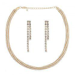 Rhinestone Necklace with Chain Earrings
