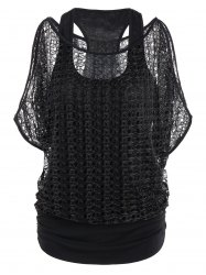 Cold Shoulder Batwing Lace Insert Top