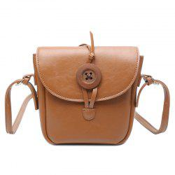 Button Mini Cross Body Bag - BROWN