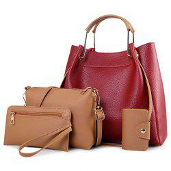 Metal Handle 4 Pieces Tote Bag Set - RED
