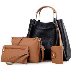 Metal Handle 4 Pieces Tote Bag Set - BLACK