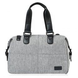 Canvas Cross Body Tote Bag - GREY WHITE