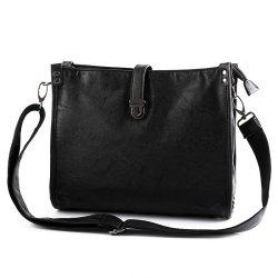 Faux Leather Push Lock Crossbody Bag - BLACK