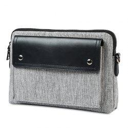 Contrast PU Leather Clutch Bag