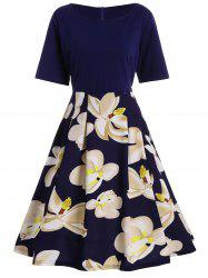 Plus Size A Line Floral Midi Tea Dress