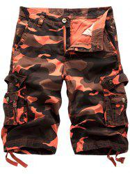Camo Cargo Shorts with Flap Pockets - BRICK-RED
